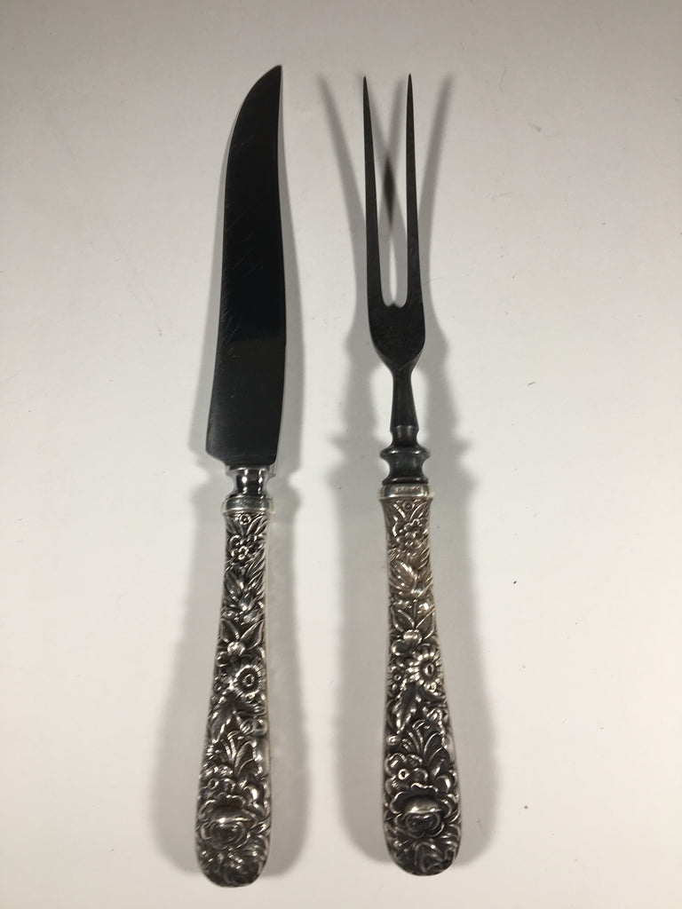 Carving Set by S. Kirk & Co. with Sterling Silver Handles