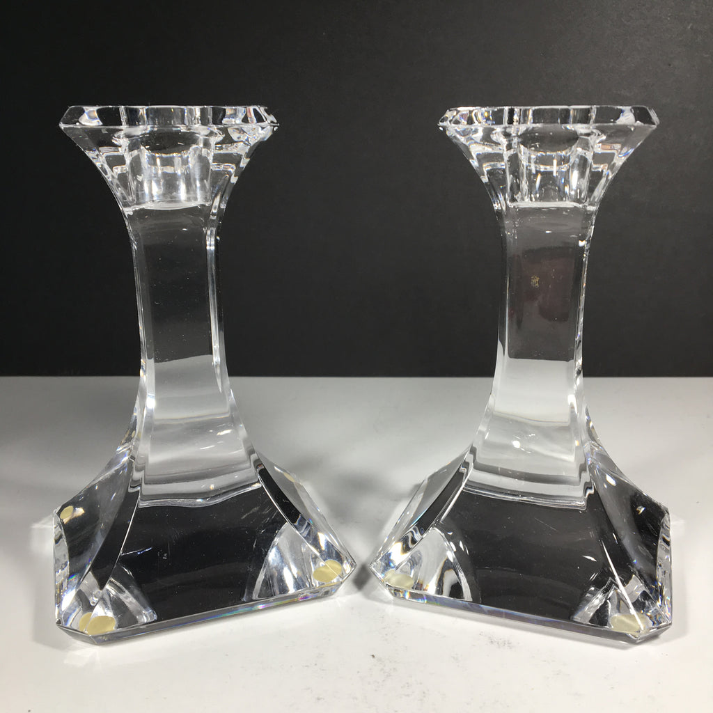 Beautiful Clear Glass Candlestick Holders