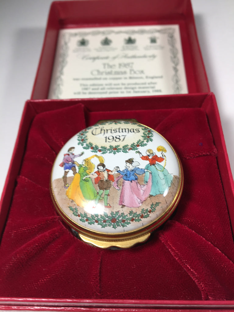 Halcyon Days Christmas 1987 Enamel Pill Box