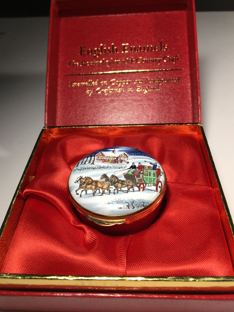 Festive English Enamel Box by Crummles celebrating Christmas 1977