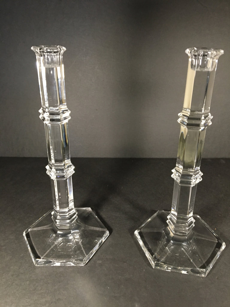 Eloquent Pair of Tiffany & Co. Windham Crystal Candlestick Holders