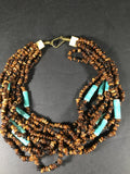 Blue Ceramic Barrel Bead and Brown Round Bead Choker Necklace