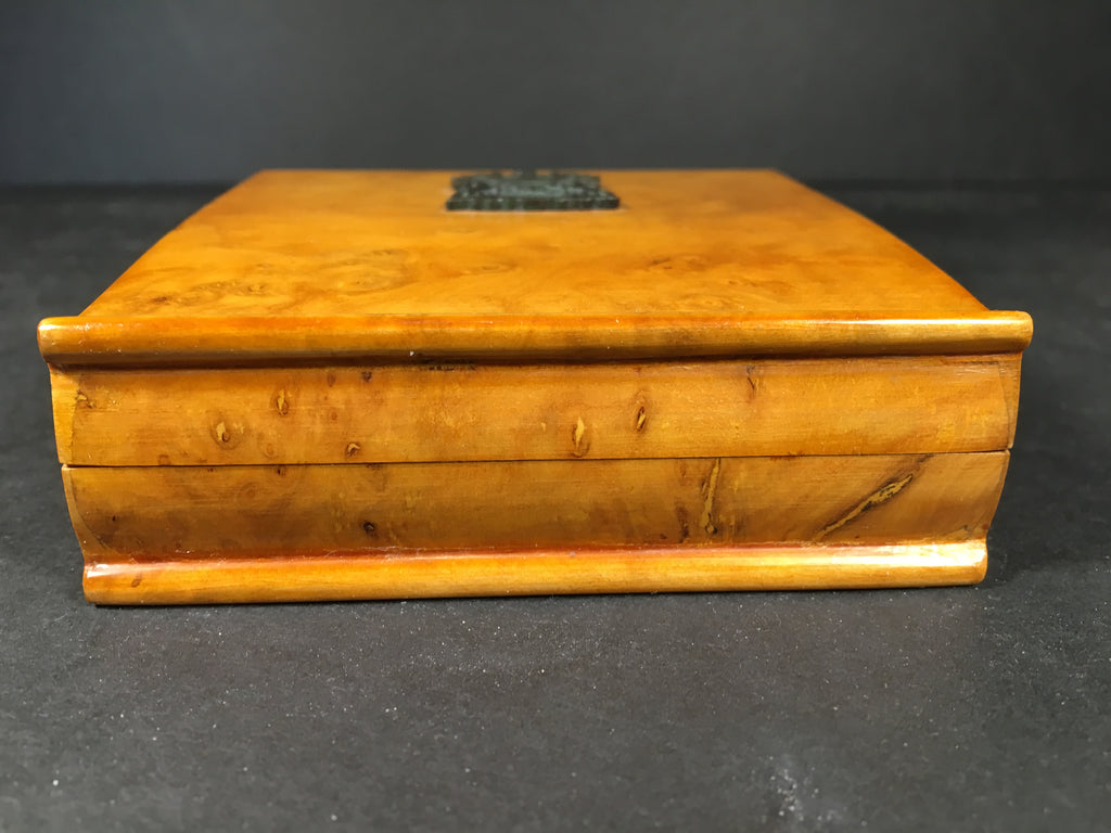 Vintage Burl Wood Cigarette Case with small Bronze Crest