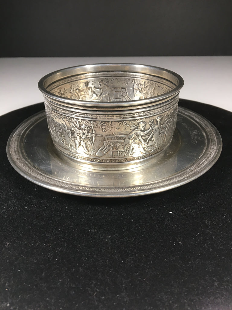 Adorable Gorham Sterling Silver Child's Bowl and Plate Set  c.1913