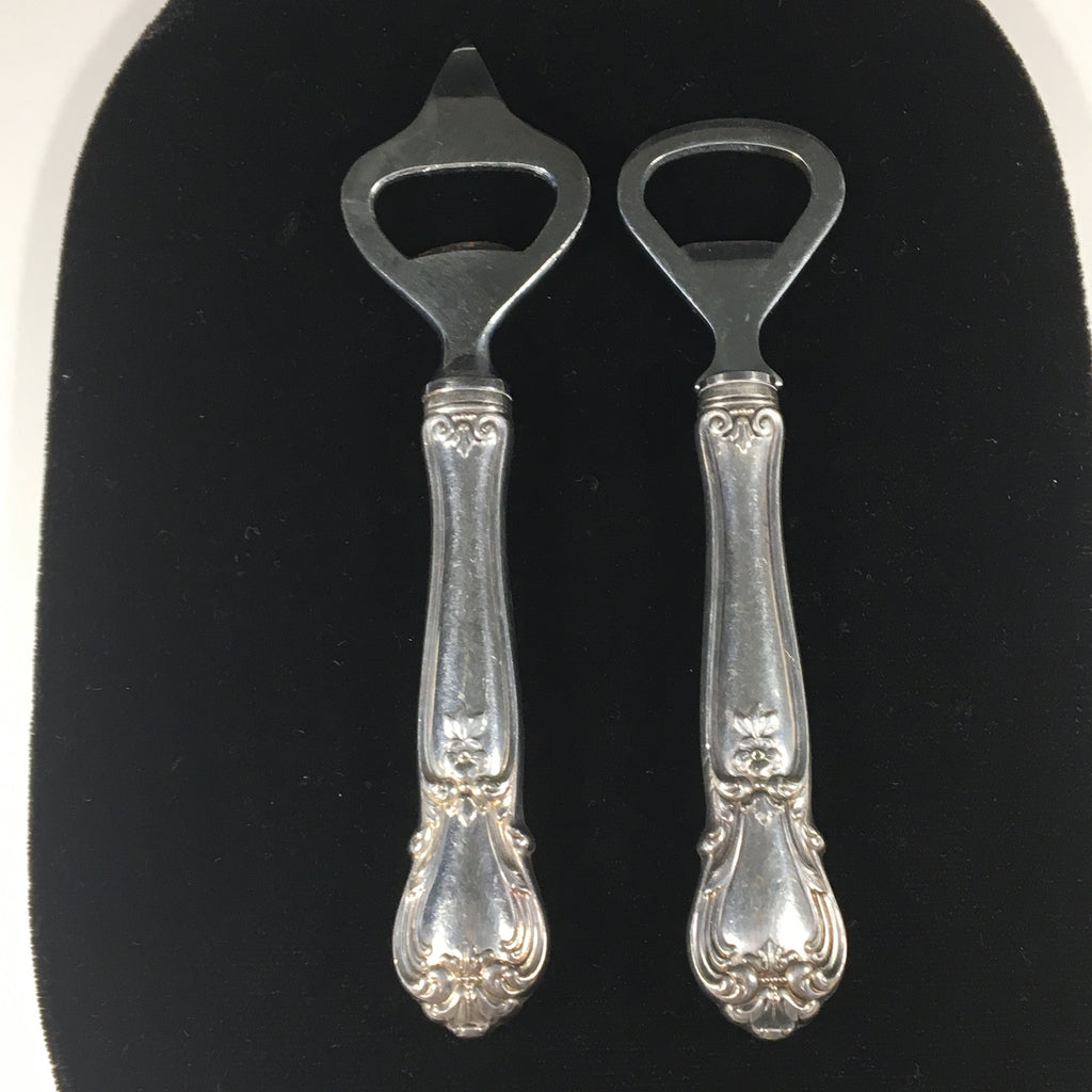 Set of 2 Vintage Sterling Silver Handled Bottle Openers