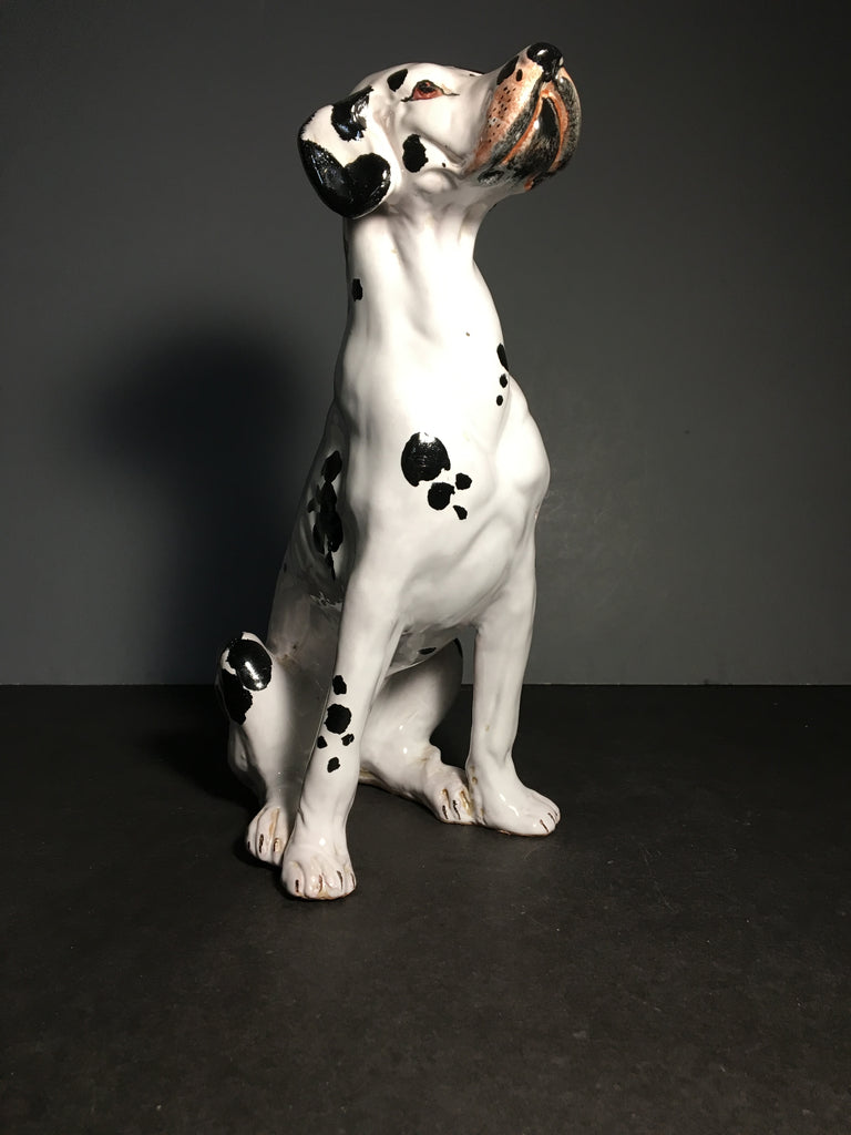 Darling Handmade Glazed Pottery Dalmatian Dog Figurine from Italy