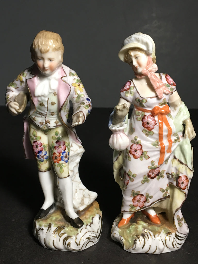 Lot of Two Antique Sitzendorf/Volkstedt 19th Century Figurines from Germany