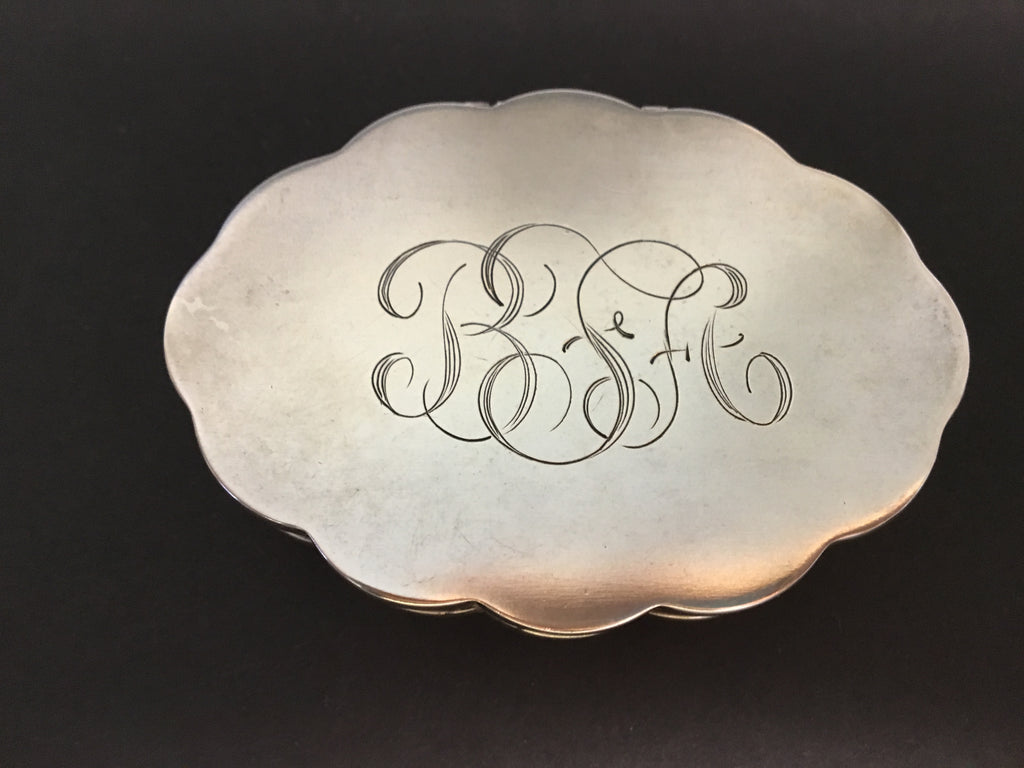 Vintage Sterling Silver Compact Monogrammed BSA