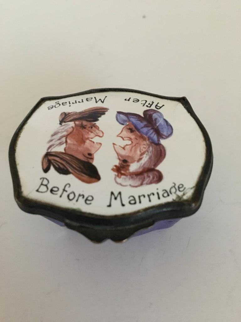 Whimsical Porcelain Trinket Box - Before and After Marriage c. late 19th Century