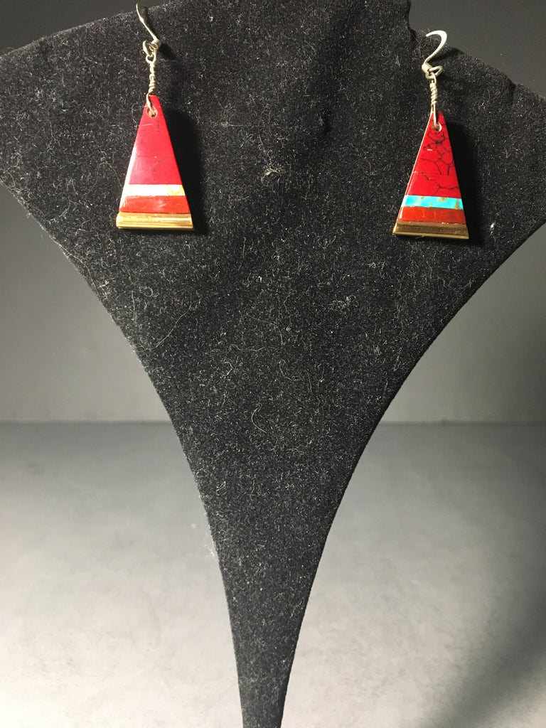 Vintage Native American Triangle Earrings with Inlay Red Jasper and Turquoise