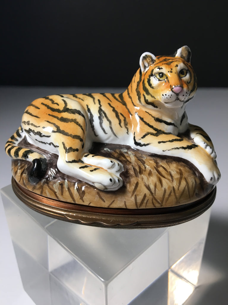 Beautiful Rare Halcyon Days Tiger Bonbonniere Enamel Trinket box
