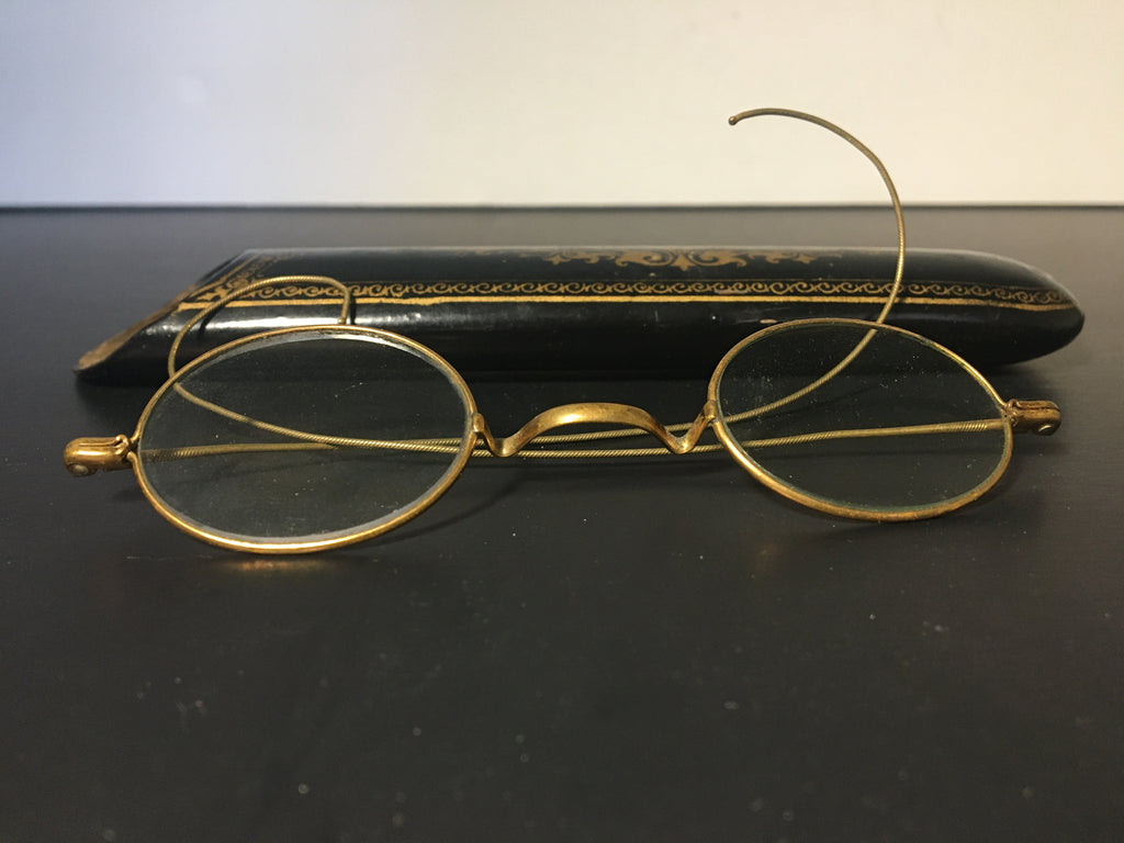Antique Papier Mache Eyeglass Case w/ Vintage Wire Frame Glasses