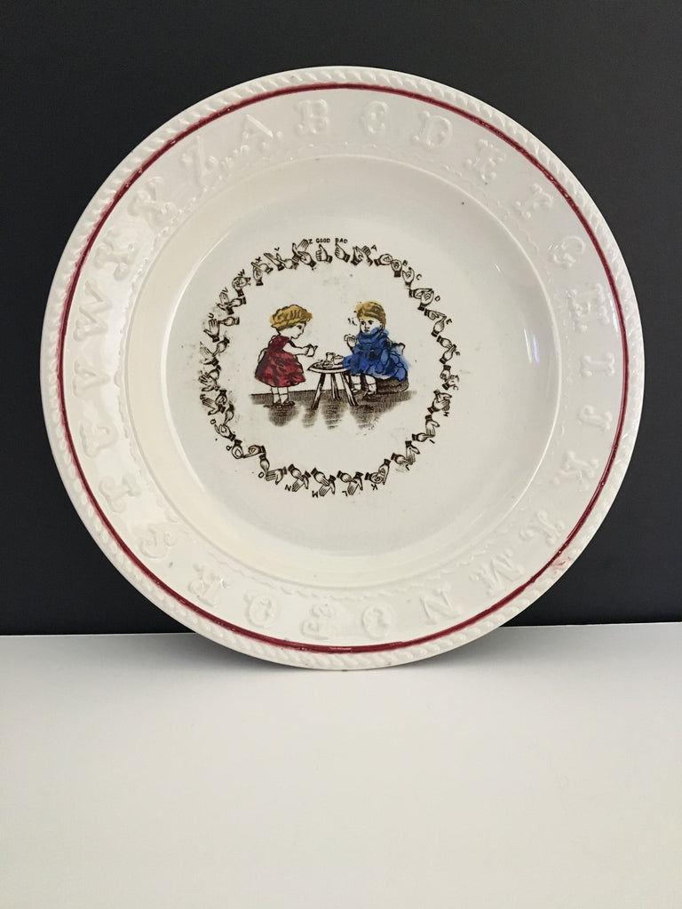 Vintage H. Aynsley & Co. Child's ABC Sign Language Plate c. 1904