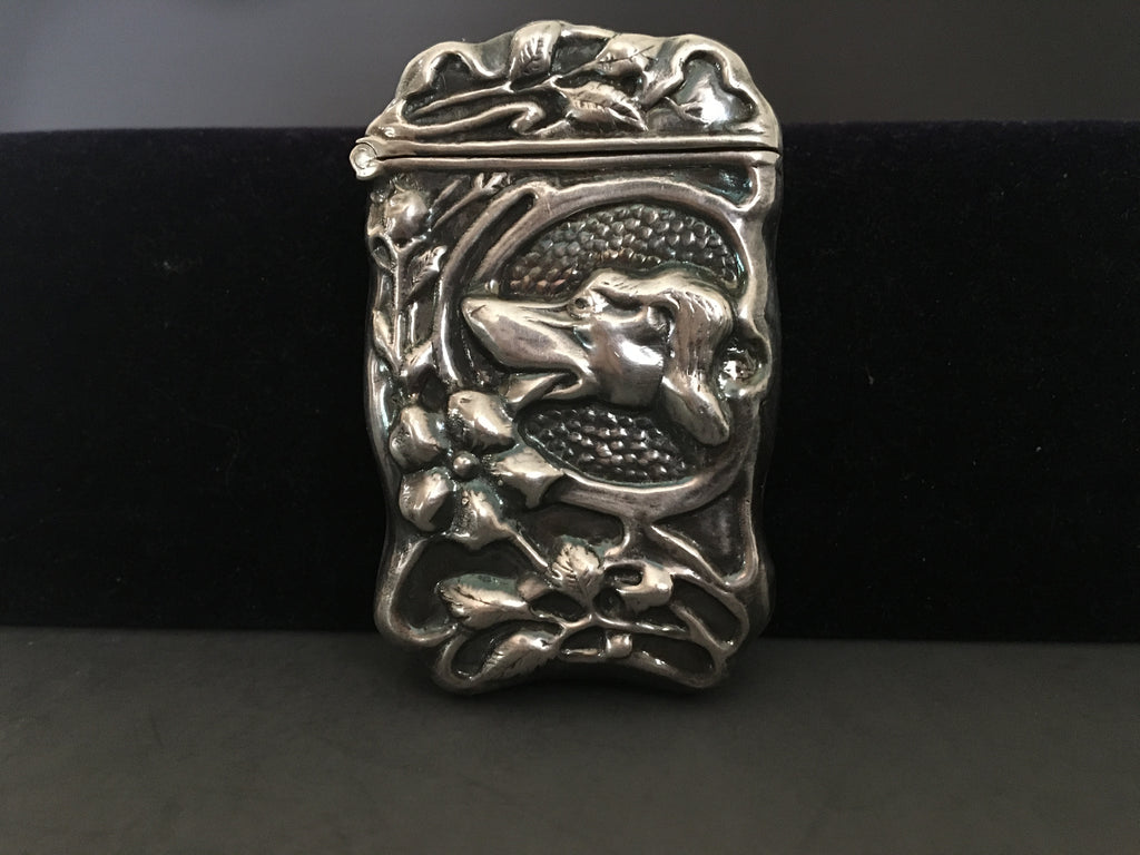 Vintage Sterling Silver Vest Case/Match Safe with Head of Dog