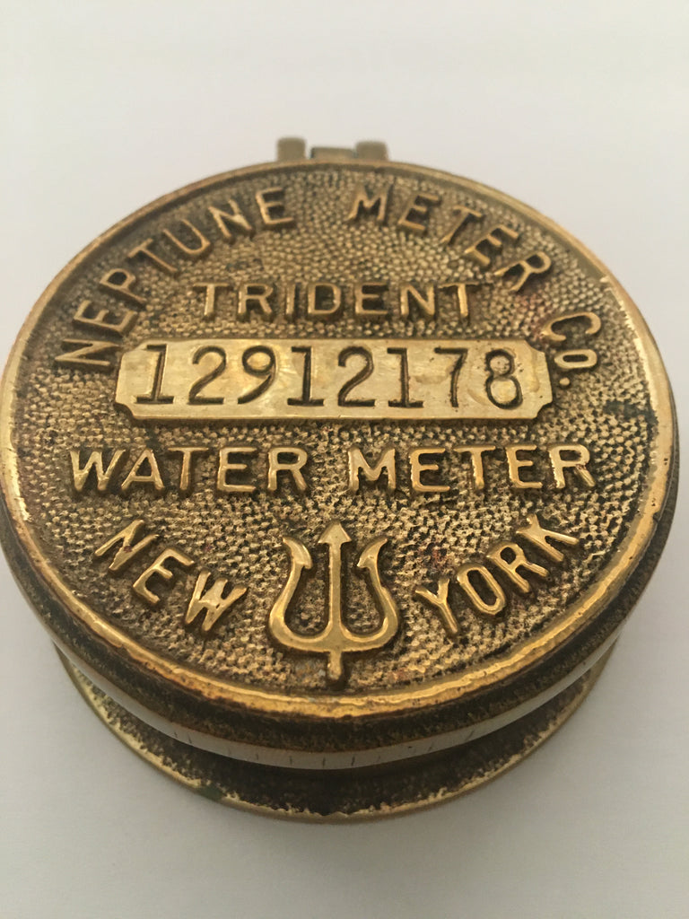 Vintage Brass Water Meter Cover by Neptune Meter Co. New York