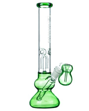 Green Accented Tree Perc Water Pipe w/ Ashcatcher Bowl