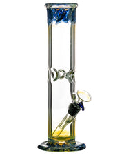 "Blue 10"" Straight Tube with Raked Colored Glass Accents"