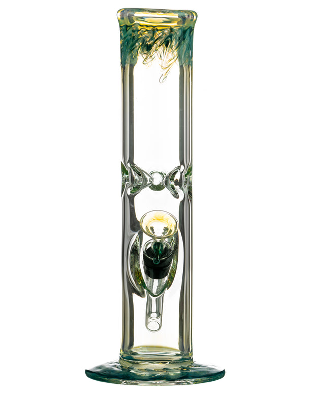 "Teal 10"" Straight Tube with Raked Colored Glass Accents"