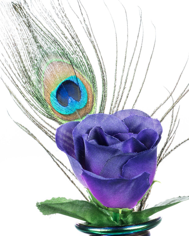 Faux Flower Poker and Peacock Feather