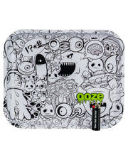 "Ooze Rolling Tray with ""Monstrous"" Design Large With Lighter for Scale"