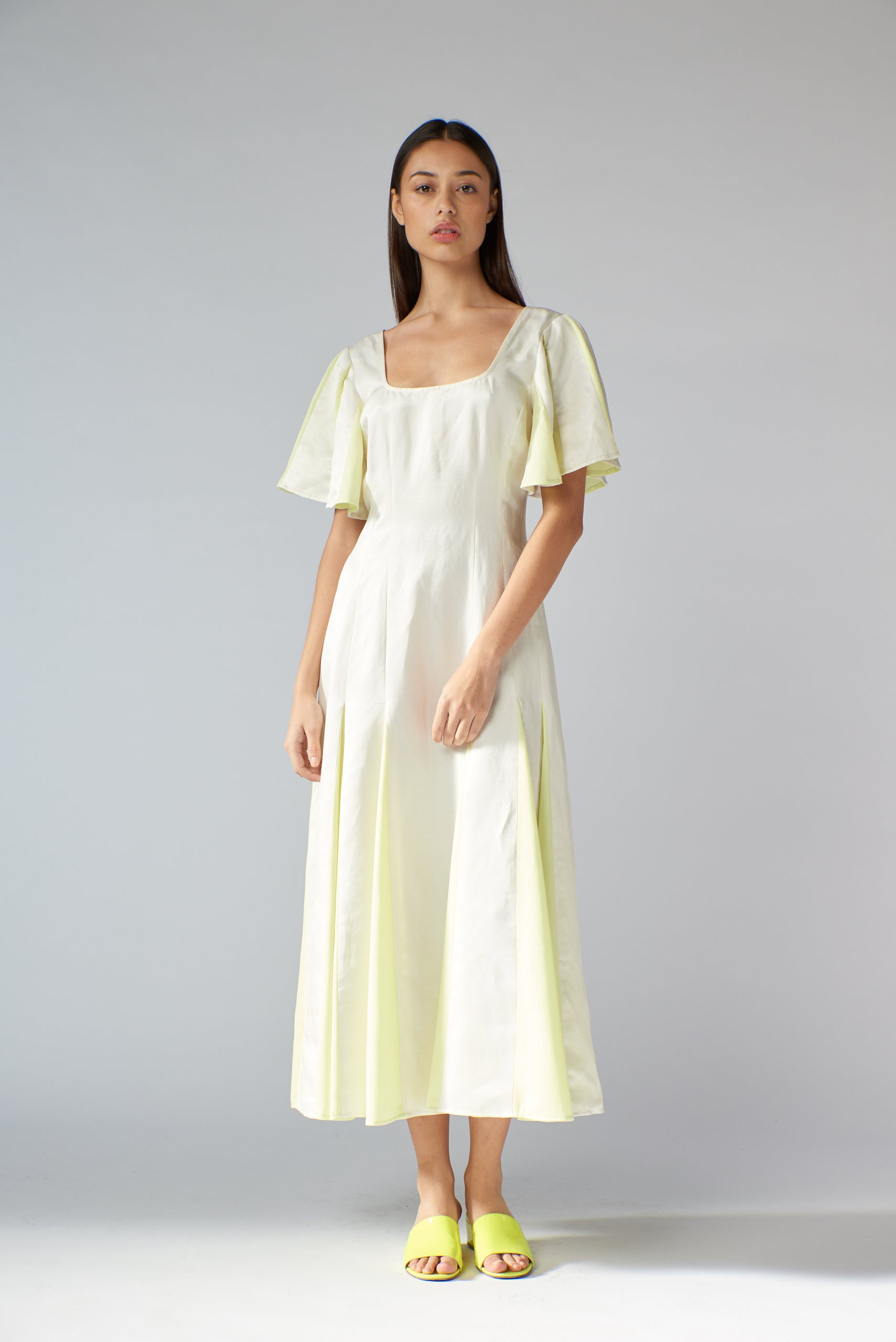 Loretta Dress - Ivory & Citron