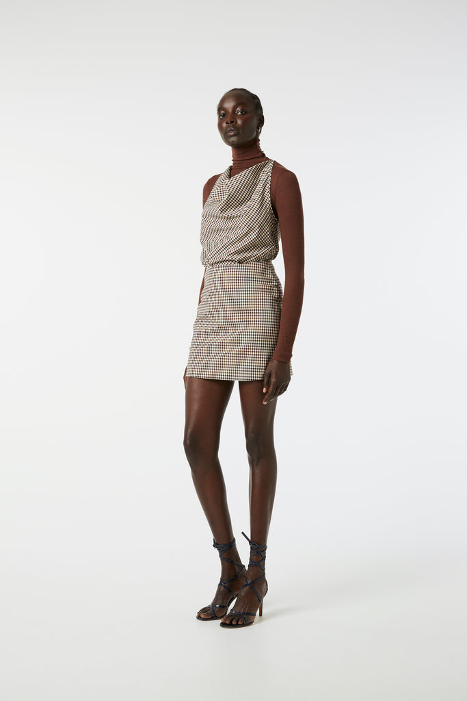 Celeste Mini Skirt - Brown Check