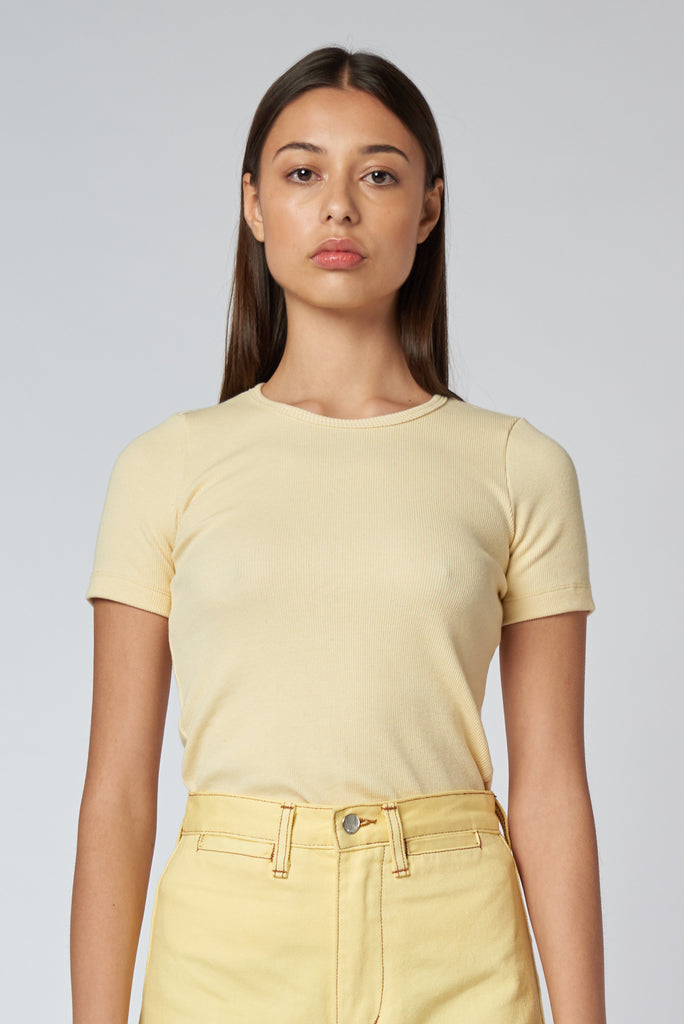 Organic Fitted Rib Tee -  Butter