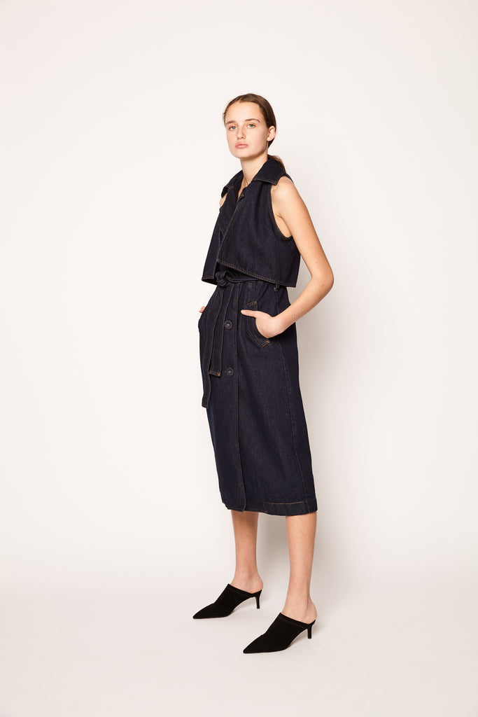 Denim Trench Dress - Indigo