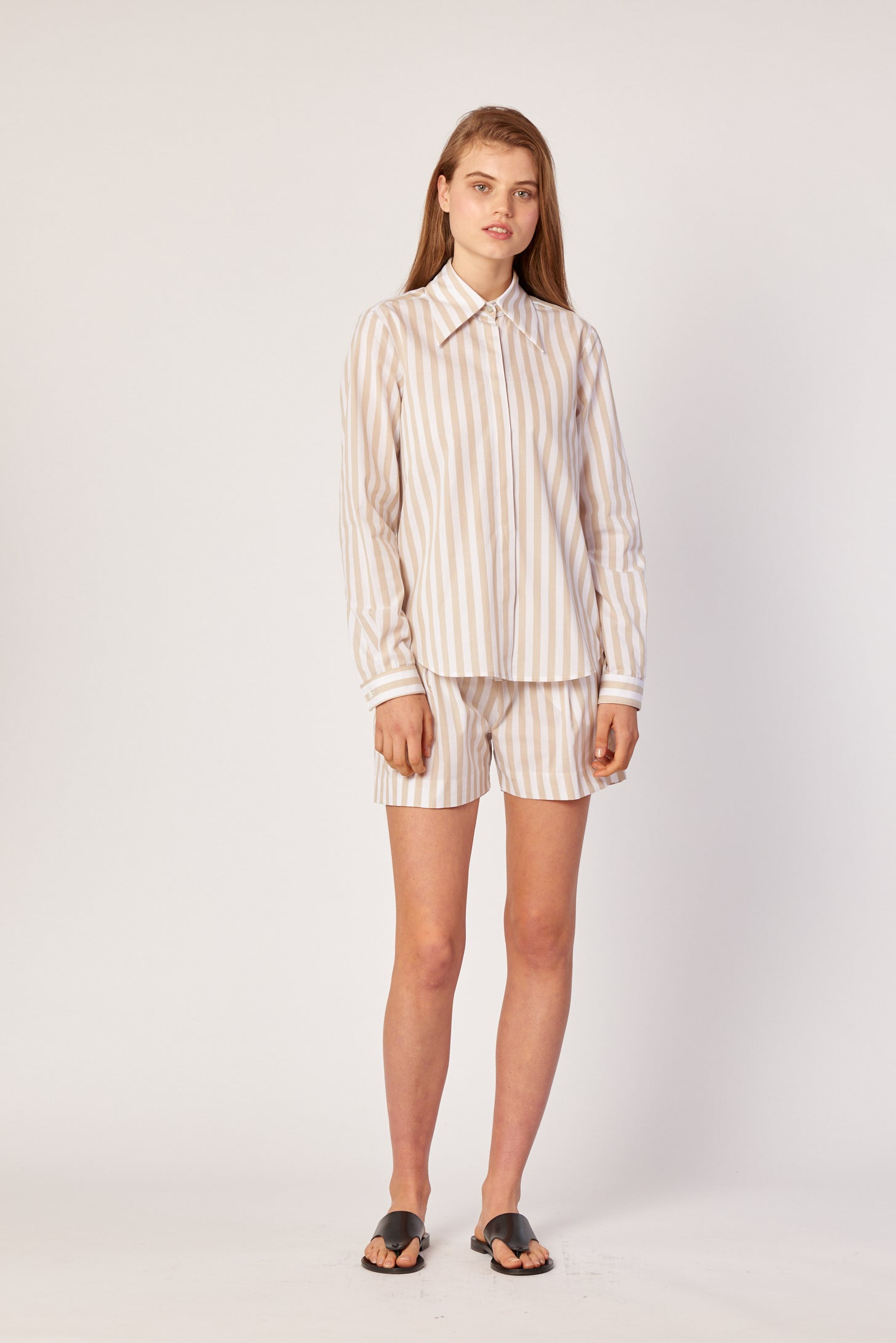 Inez Shirt - Tan Stripe