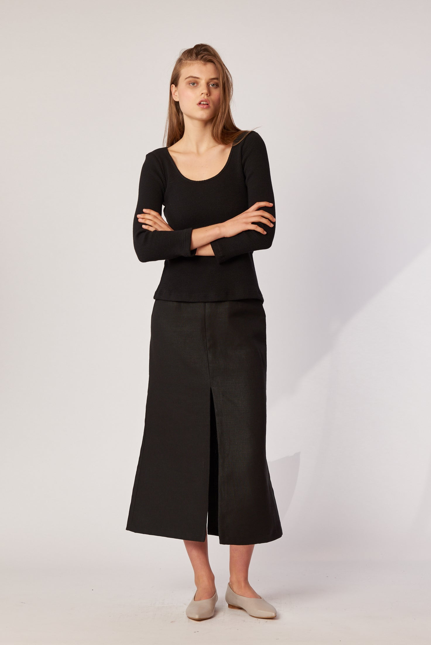 Margot Skirt - Black Hemp