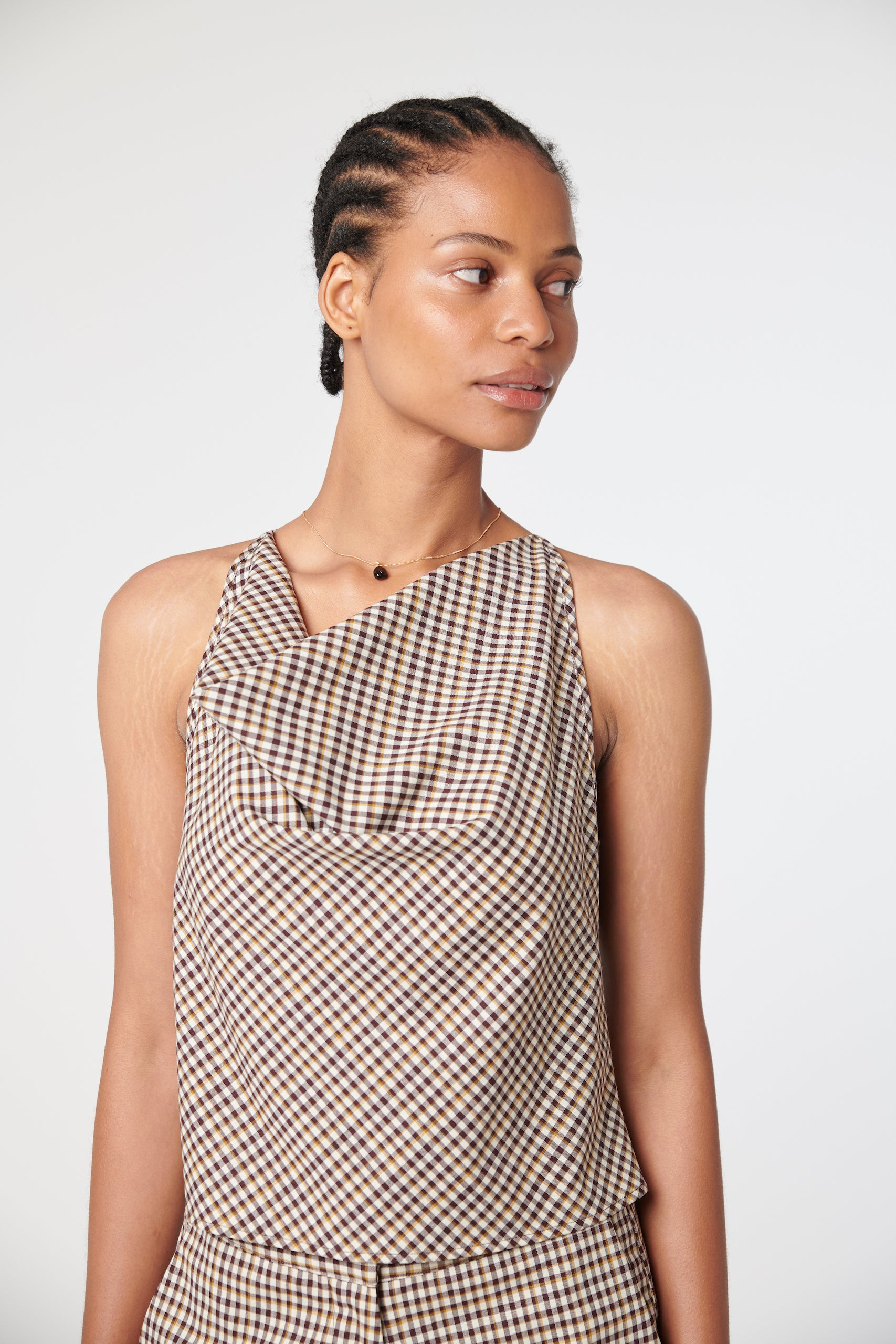 Faye Top - Brown Check