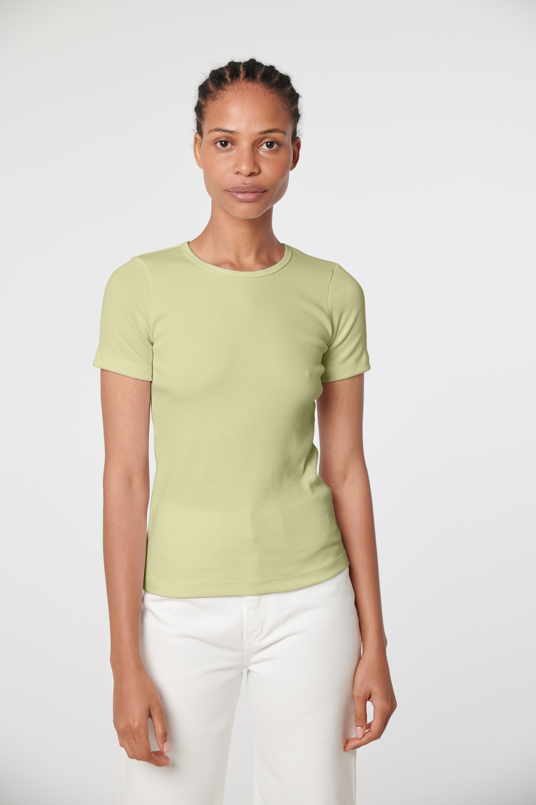 Organic Fitted Rib Tee -  Celery