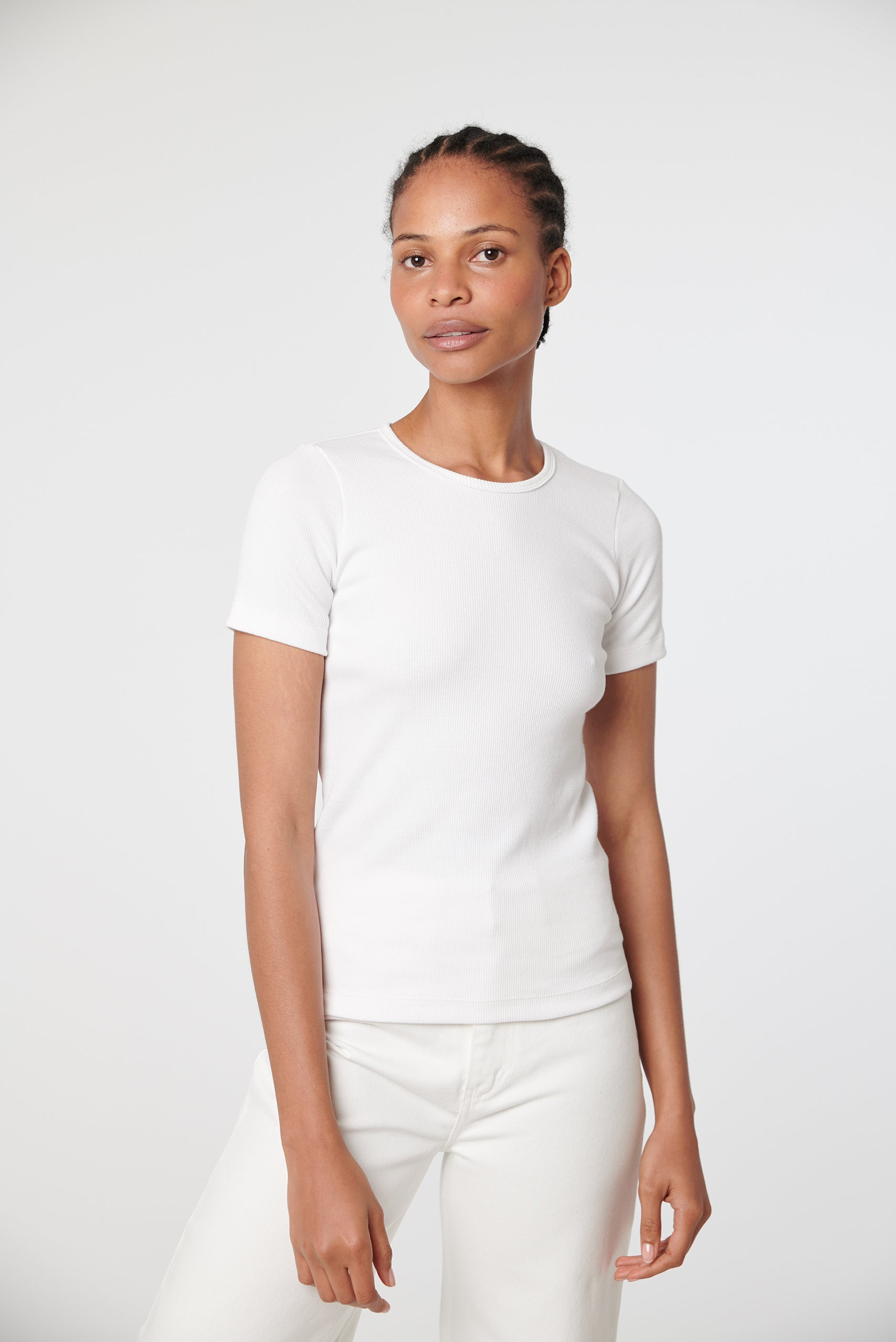 Organic Fitted Rib Tee -  White