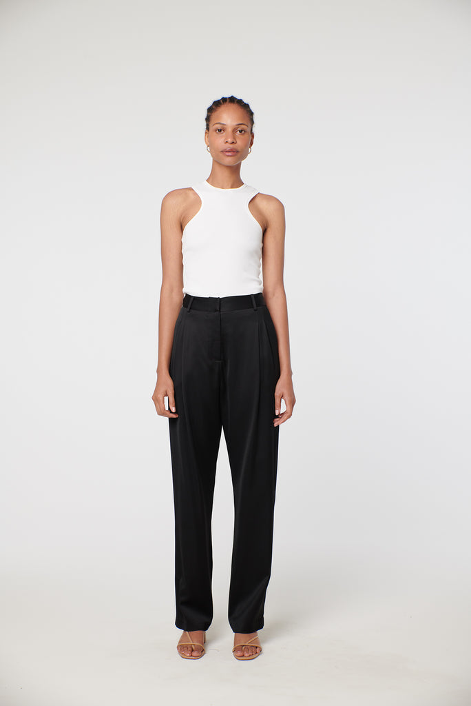 Tailored Trouser - Black satin