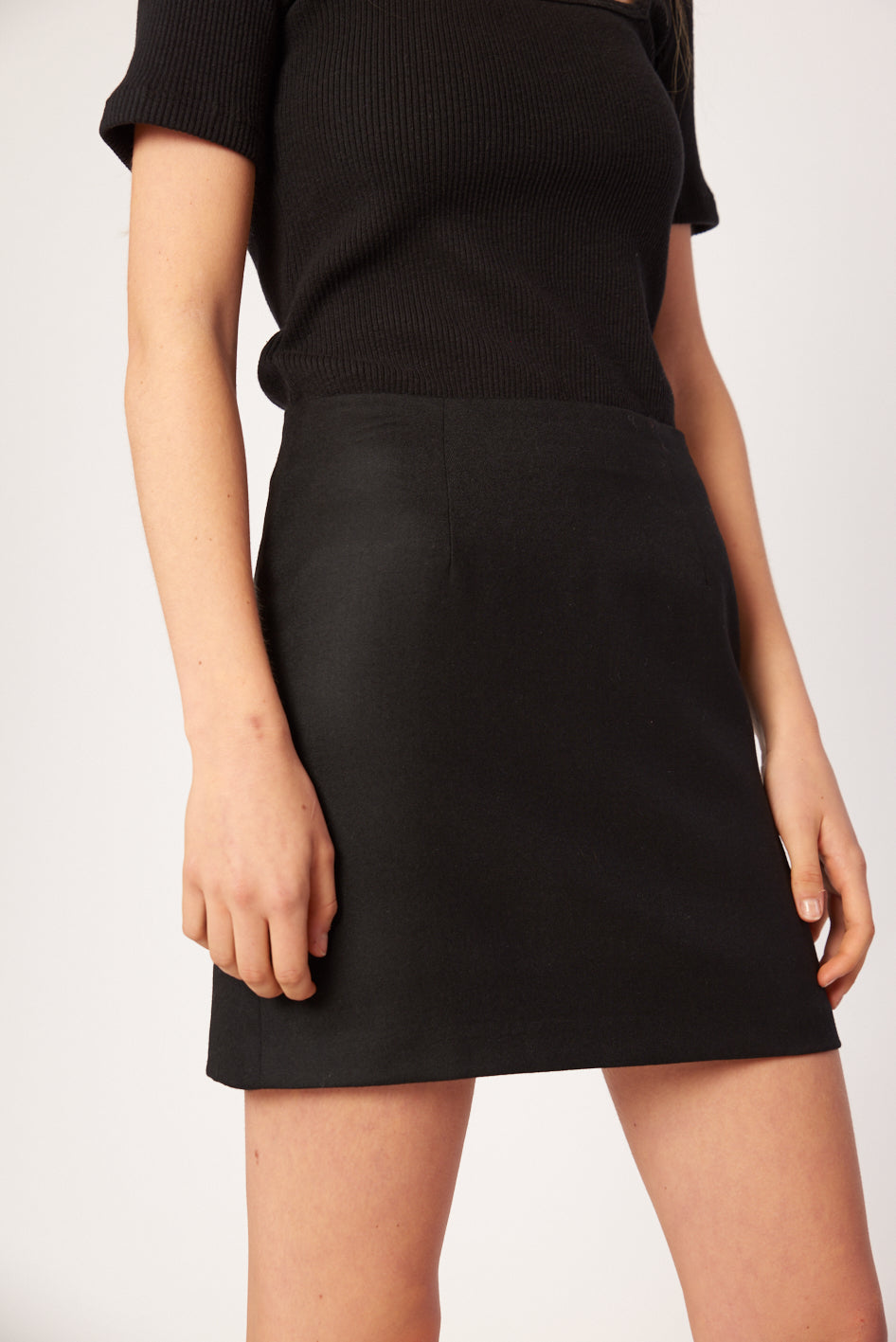 Celeste Mini Skirt- Black Wool