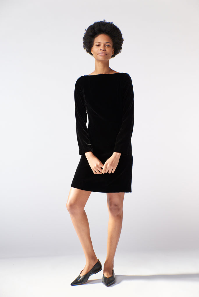 Frieda Dress - Black Velvet