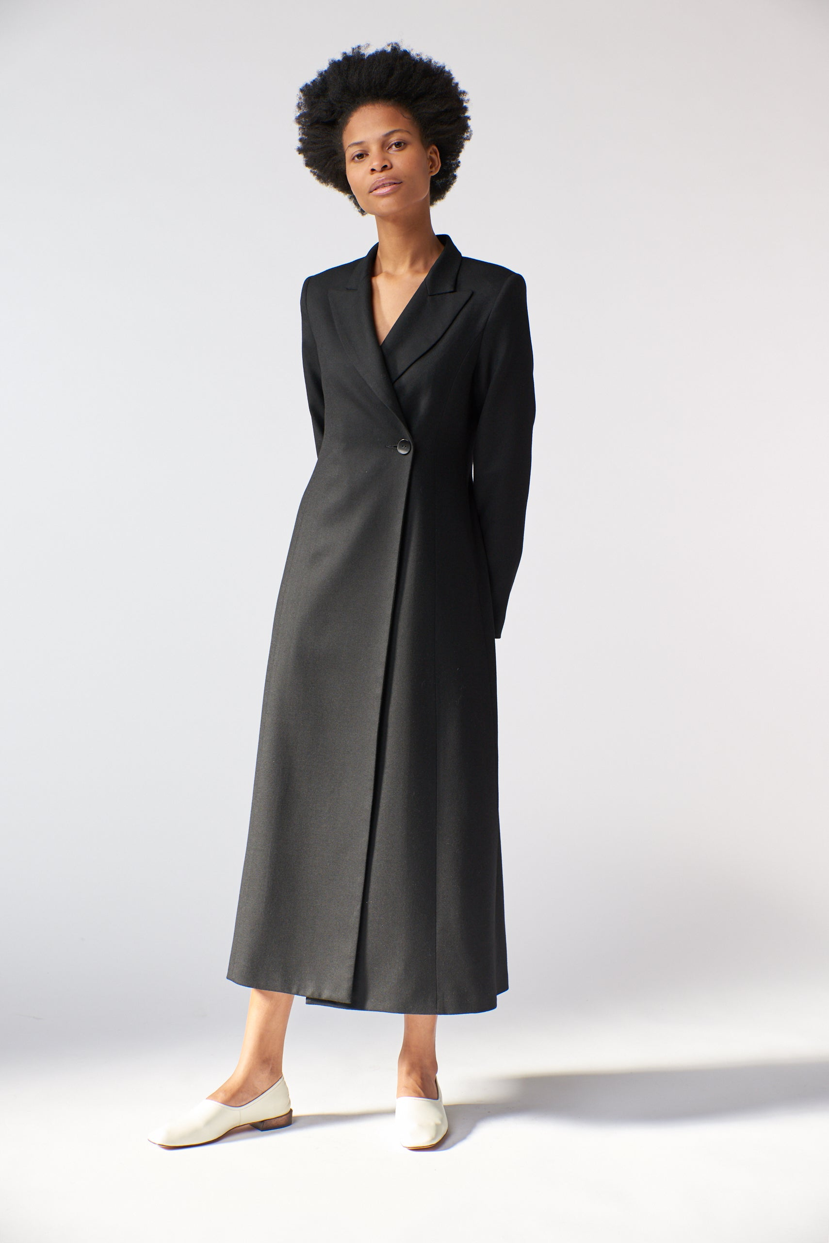 Benedict Coat Dress - Black Wool