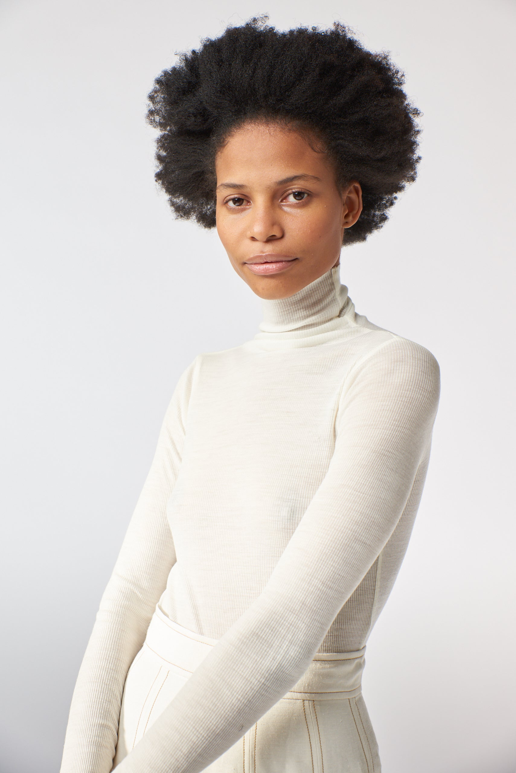 Merino Rib Funnel Neck Skivvy - Chalk