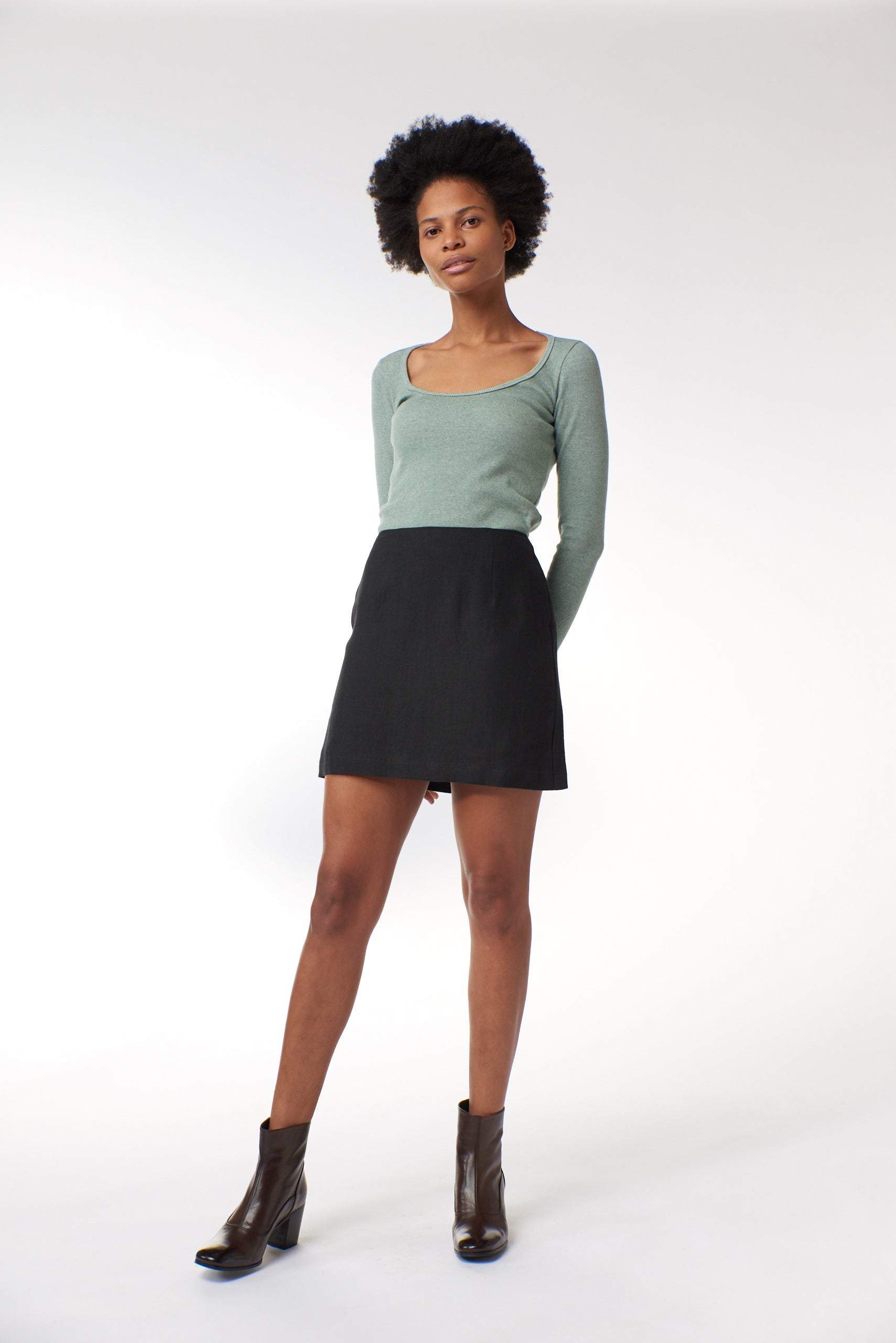 Celeste Mini Skirt - Black Linen