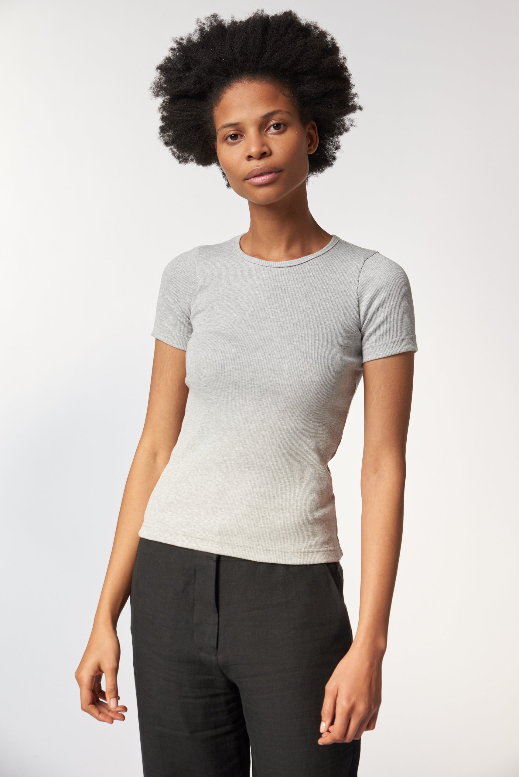Organic Fitted Rib Tee -  Grey Marle