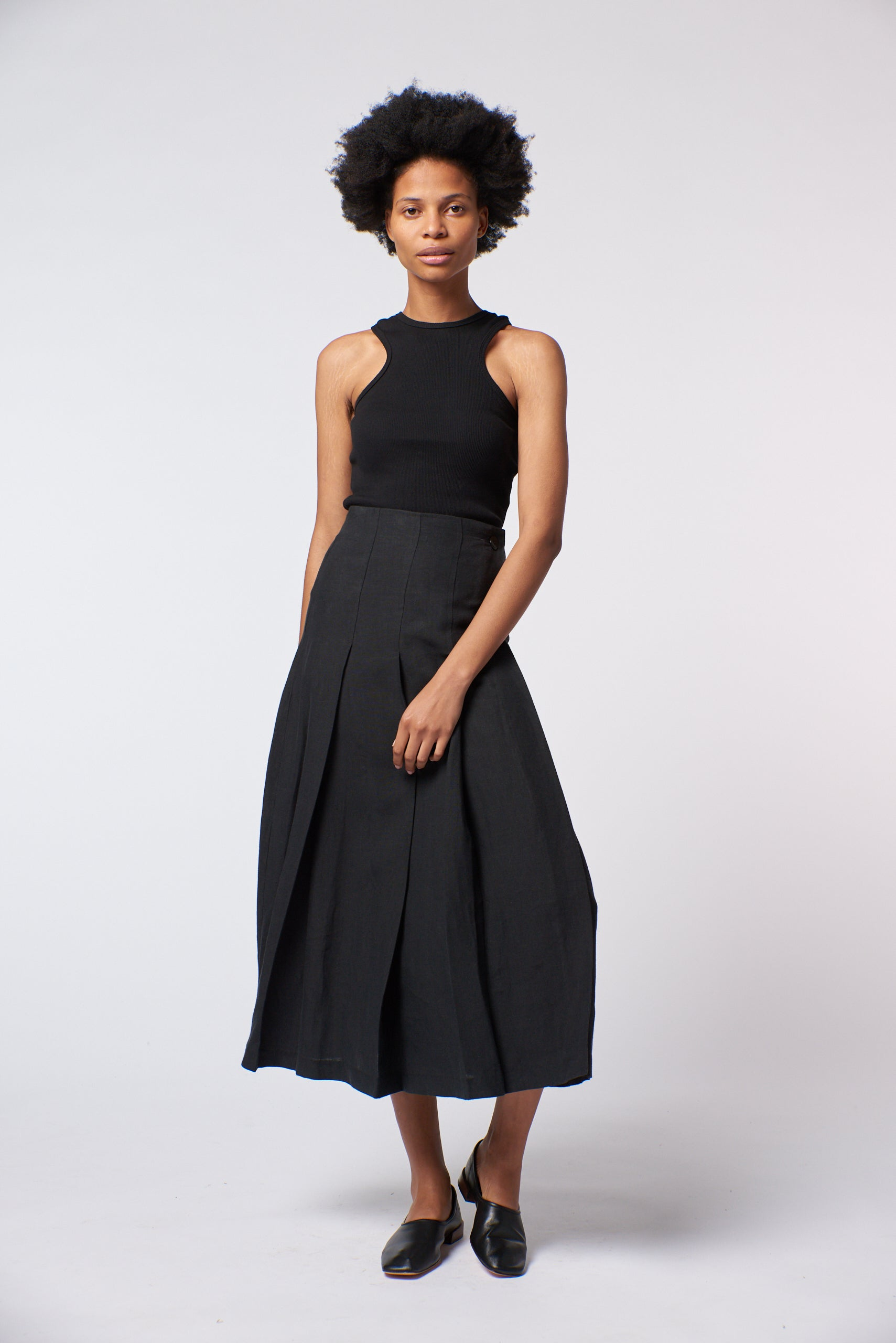 Penelope Skirt - Black Linen