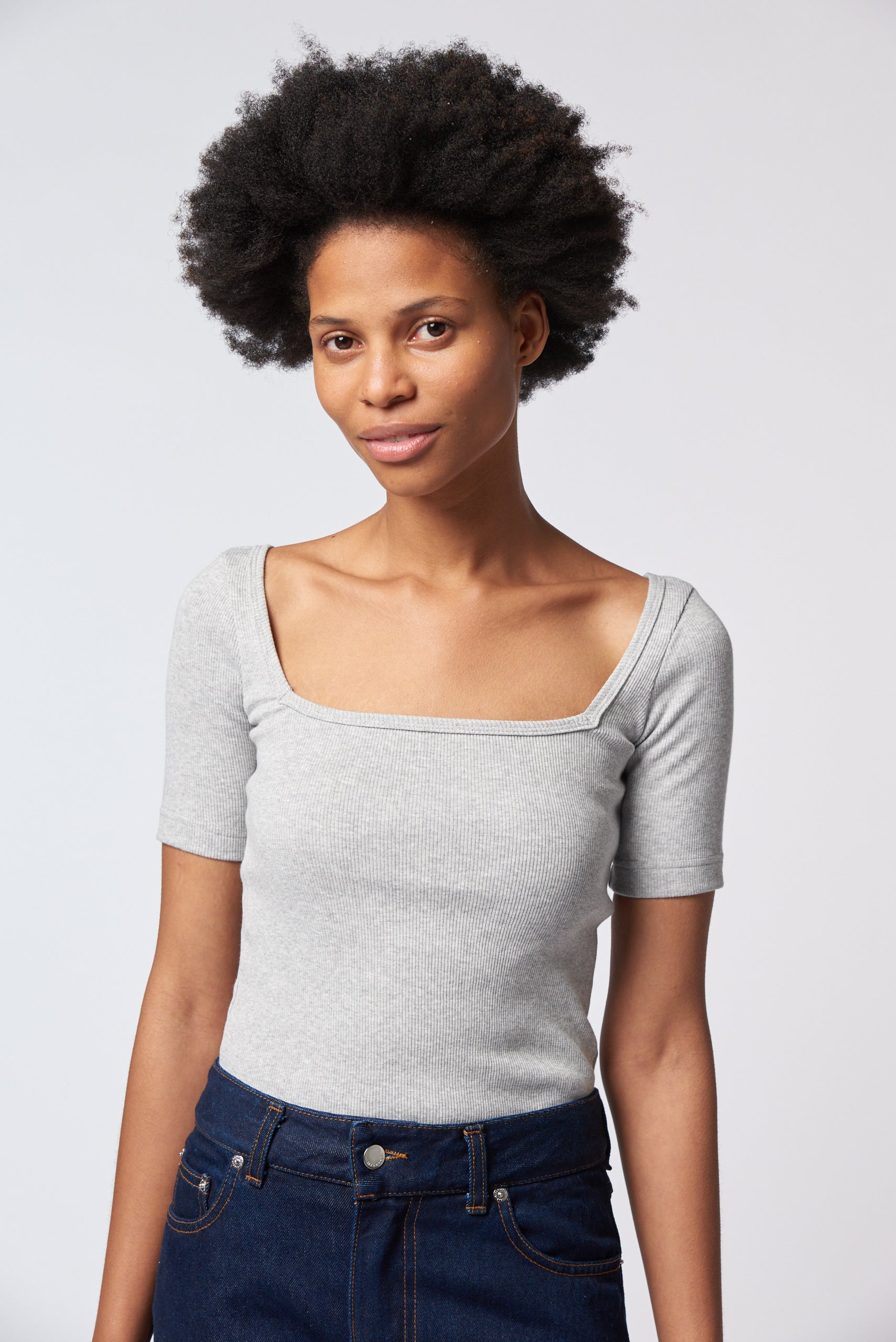 Clara Top - Grey Marle