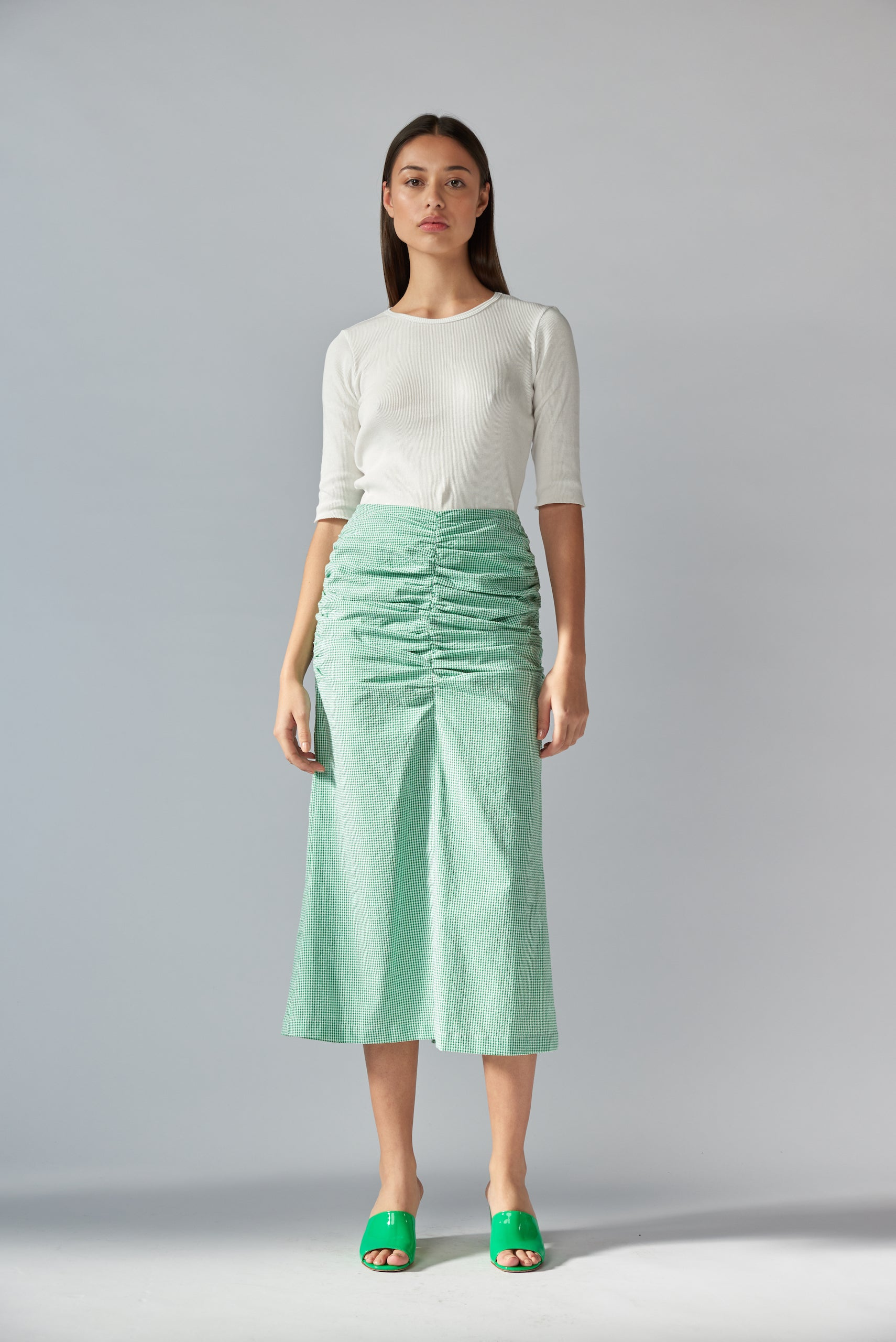 Ina Skirt - Emerald Gingham