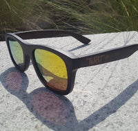 Turt Sunglasses, Midnight Sun, Red/Gold Lenses with Black Bamboo Frames