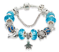 Turtles Charm Bracelets with Silver and Crystal Beads - Turt Vibe