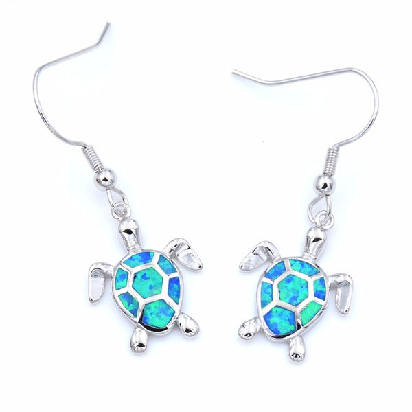 Blue Fire Opal - Silver Earrings - Turt Vibe