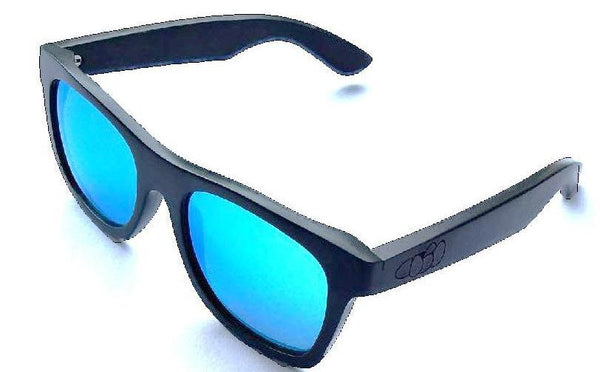 Turt Sunglasses, Midnight Blues, Brilliant Blue Lenses with Black Bamboo Frames