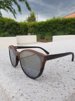 Turt Sunglasses, Daggerboards, Zebra Wood Frames with Flat Silver Mirror Lens