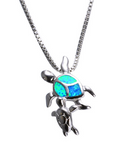 Blue Fire Opal - Momma and Baby Sea Turtle Pendant Necklace - Turt Vibe