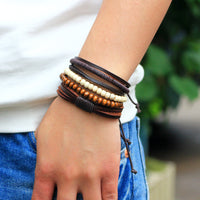 Vintage Male Handmade Leather Bracelet - Bohemian Wood Bead - Turt Life